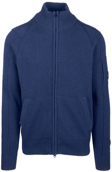 C.P. Company Lambswool Full Zip Knit - Total Eclipse