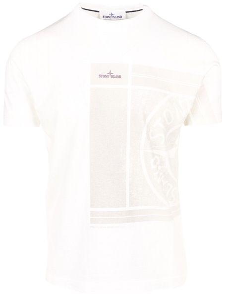 Stone Island Logo Print T-Shirt - White/Beige