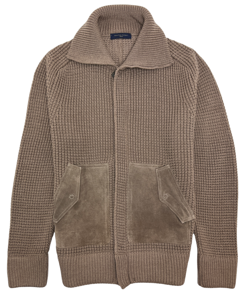 Daniele Fiesoli Knitted Cardigan with Leather Pockets - Taupe