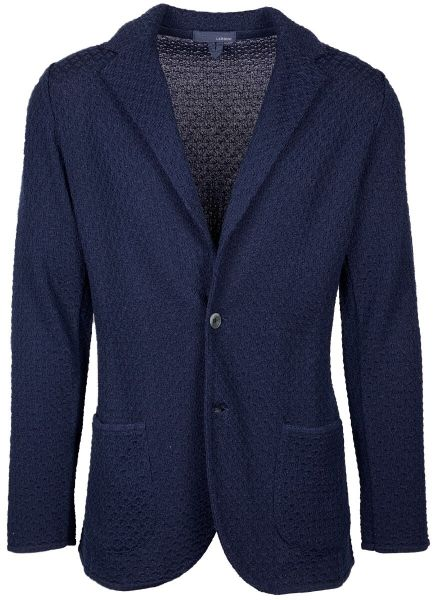 Lardini Knitted Cotton Jacket - Dark Blue