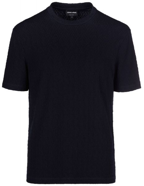 Giorgio Armani T-shirt Chevron Motif In Relief - Navy Blue