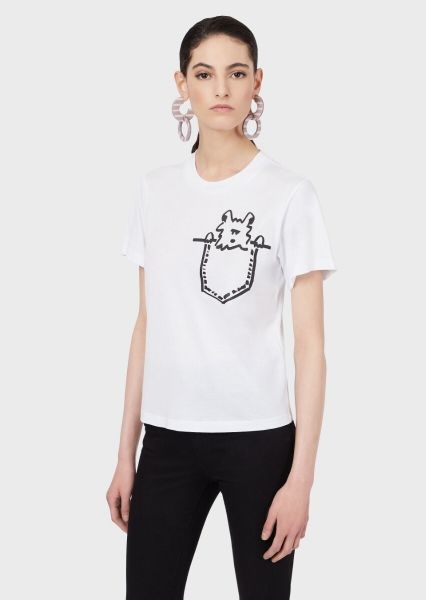 Emporio Armani Dog Print T Shirt - White