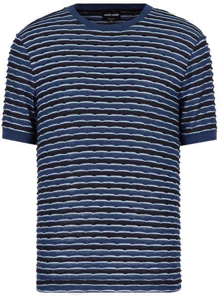 Giorgio Armani T-shirt In Jacquard Jersey - Blue