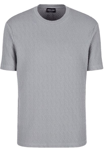 Giorgio Armani T-shirt Chevron Motif In Relief - Grey