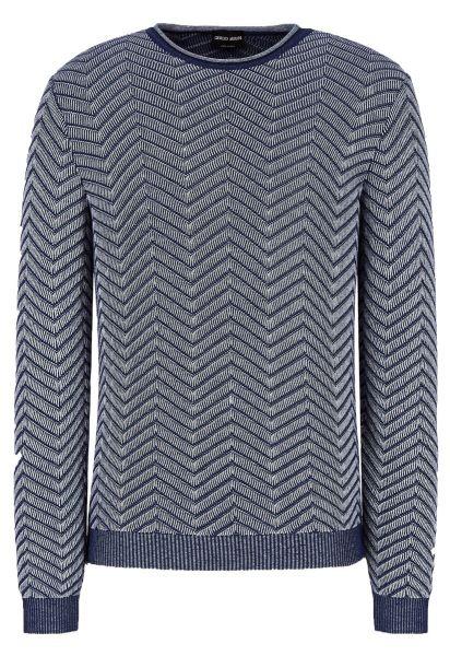 Giorgio Armani Sweater With A Graphic Wave Design - Blue