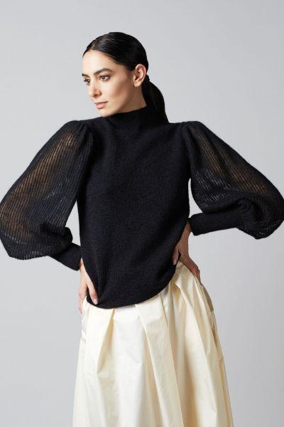 Gran Sasso Knit With Mock Colar - Black
