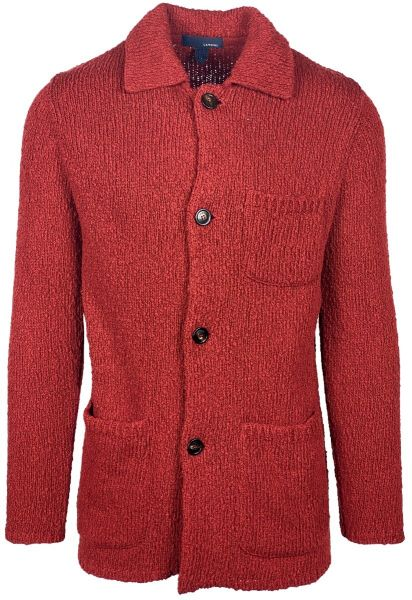 Lardini Knitted Cotton Cardigan - Dark Red