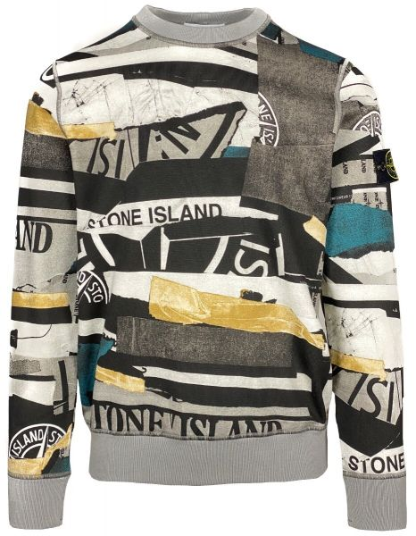 Stone Island Brushed Cotton Mixed Media All Over Print Sweater