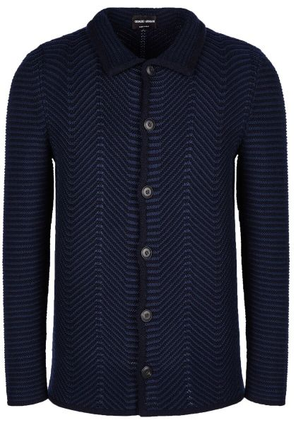Giorgio Armani Jacket in Chevron Jacquard - Navy Blue