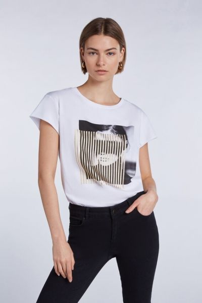 SET Metallic Print T Shirt - Wit