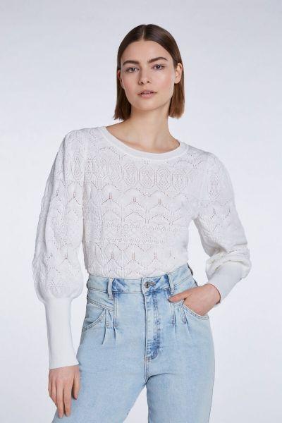 SET Fine Knit Jumper In Ajour Pattern Mix