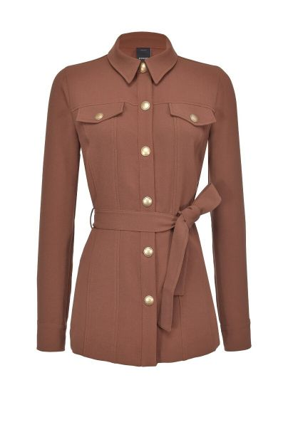 Pinko Shirt Jacket In Supple Sable