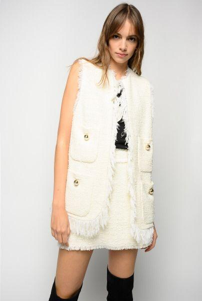Pinko Long Tweed Waistcoat With Fringes - White