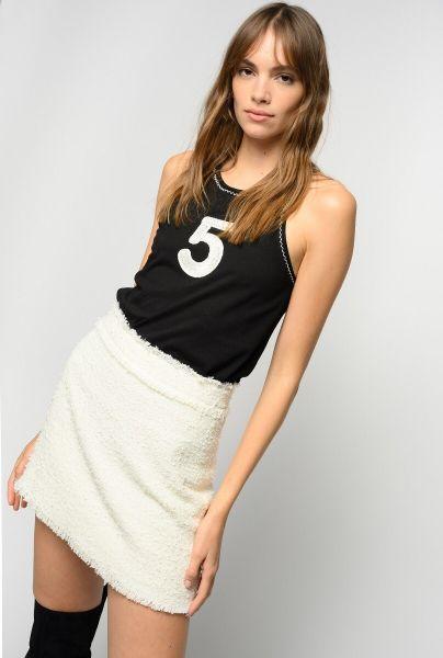 Pinko Lirico Tweed Skirt - White