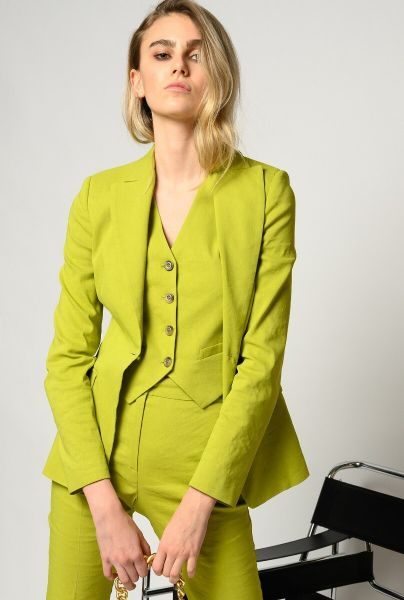 Pinko Blazer In Linen Cloth - Lime