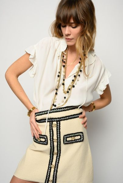 Pinko Sleeveless Blouse With Ruffles - White