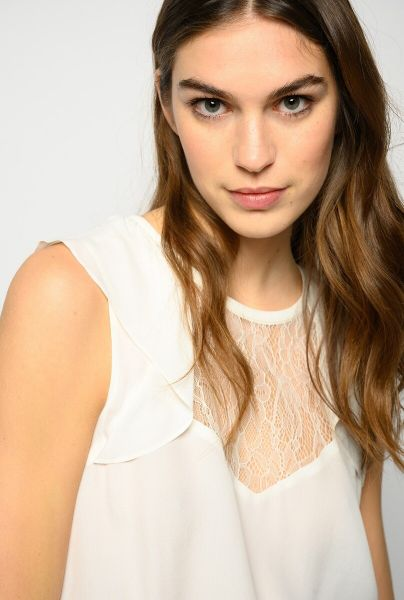 Pinko Top With Lace- White