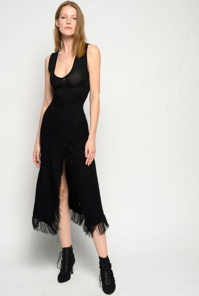 Pinko Long Knitted Dress in Black