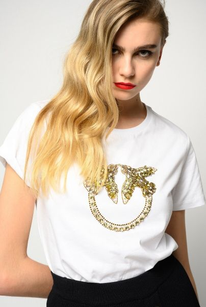 Pinko Love Birds Embroidery T Shirt - Wit