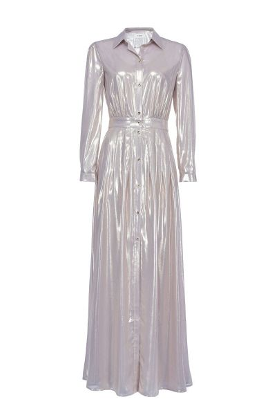 Pinko Long Dress in Georgette Laminata - Gold