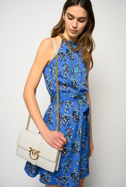 Pinko Floral Halter Neck Dress With Chain