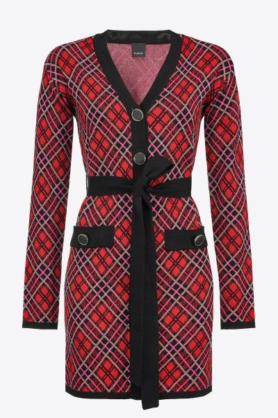 Pinko Check Jacquard Mini Dress - Black Red