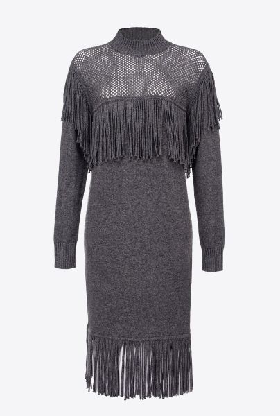 Pinko Knit Dress With Fringing - Grey