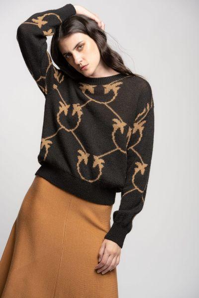 Pinko Monogram Jacquard Pullover - Camel Black