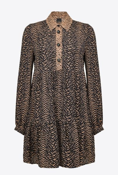 Pinko Animal Print Dress - Black Camel