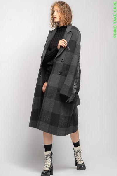 Pinko Check Coat With Fringing