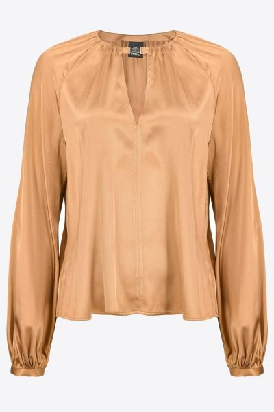 Pinko Long Sleeved Stretch Satin Blouse - Gold