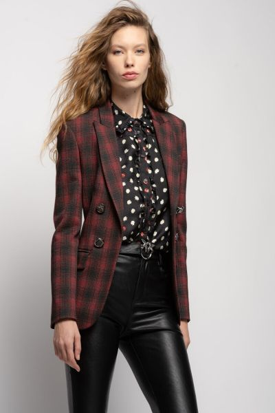 Pinko Punto Milano Chequered Blazer With Jewel Buttons - Black Red