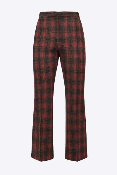 Pinko Chequered Flared Trousers - Black Red