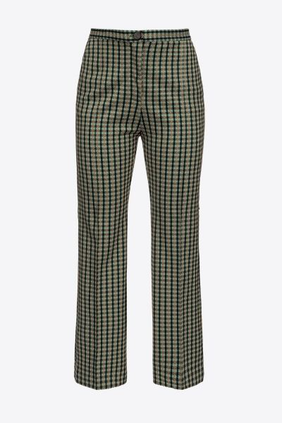 Pinko Chequered Flared Trousers - Green Beige