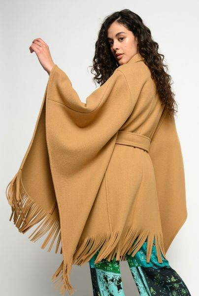 Pinko Cape Coat With Fringing - Rubber Brown