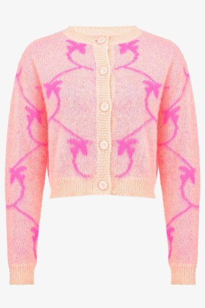 Pinko Mohair Cropped Monogram Jacquard Cardigan - Pink