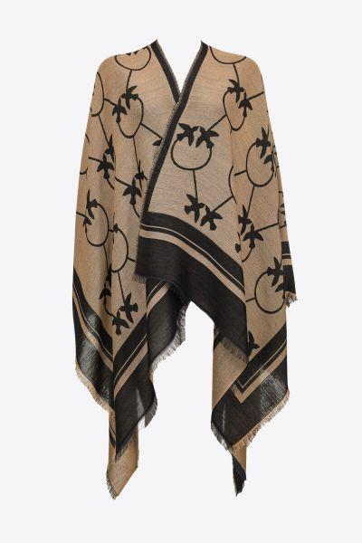 Pinko Large Love Birds Shawl - Camel Black