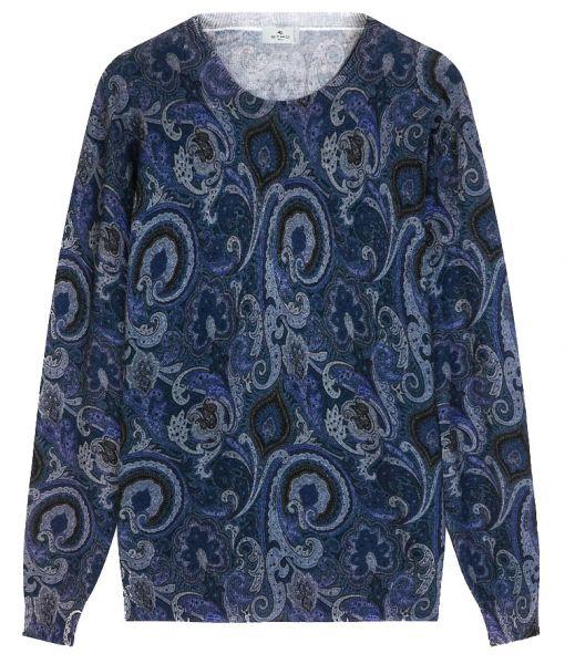 Etro Paisley Wool Jumper - Navy Blue