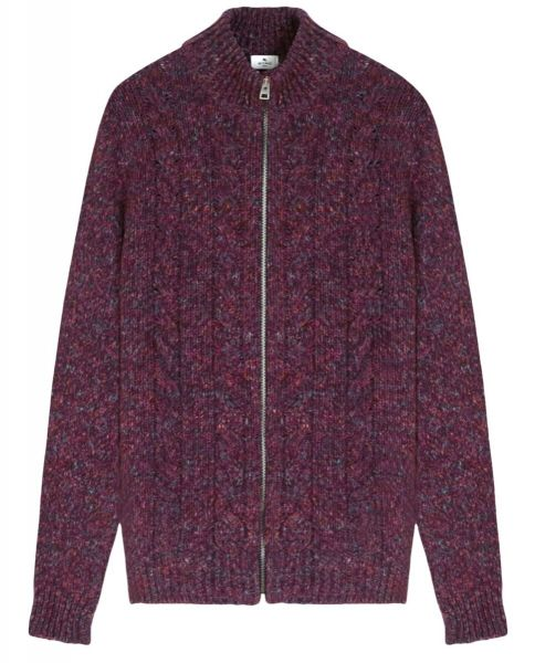 Etro Cable Cardigan with Zip - Purple
