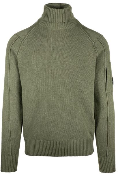 C.P. Company Lambswool Roll Neck Knit - Green