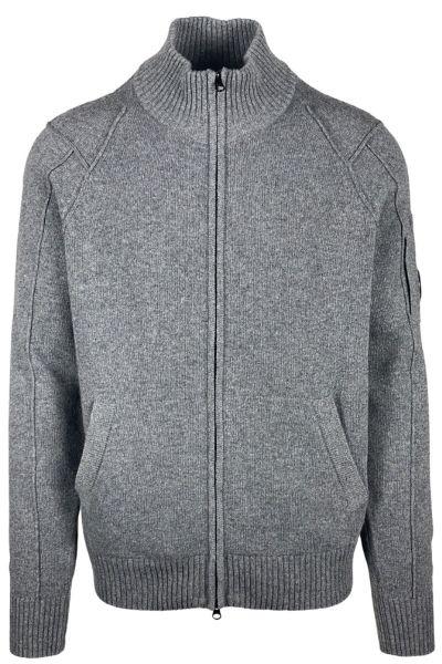 C.P. Company Lambswool Full Zip Knit - Tarmac Grey