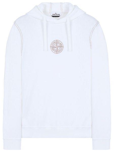 Stone Island Embroidered Logo Hoodie - White