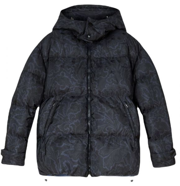 Etro Down Jacket with Floral Paisley Print - Dark Blue