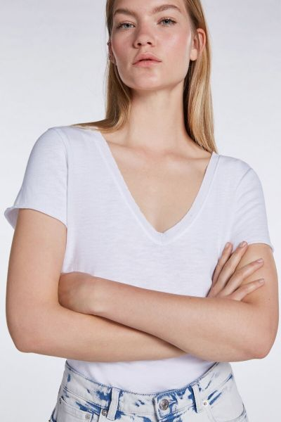 SET Basic V Neck T Shirt - Bright White