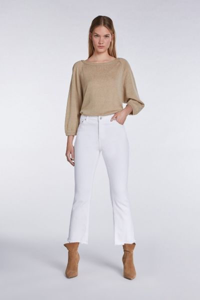 SET Cropped Flair Jeans - White