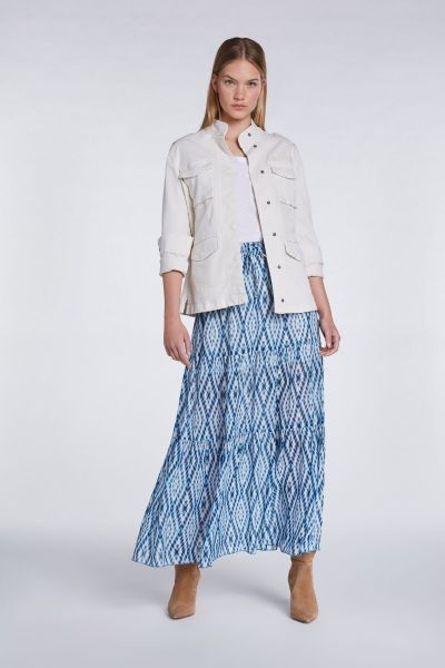 SET Long Skirt - White Blue