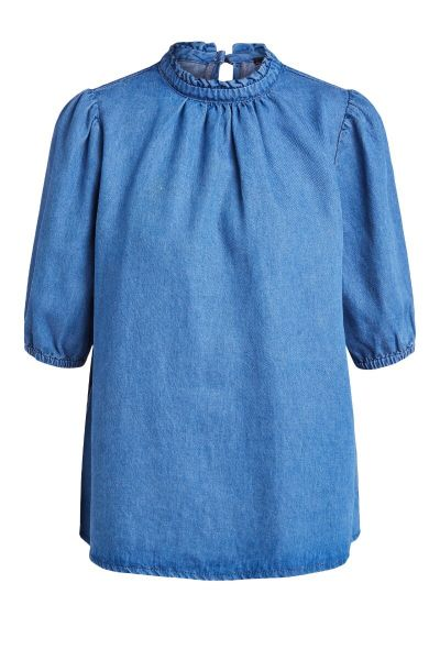 SET Denim Blouse With Short Puff Sleeves