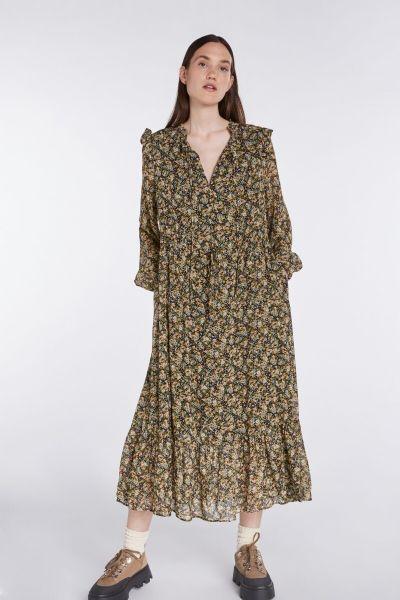 SET Flowerpint Dress - Black/Green
