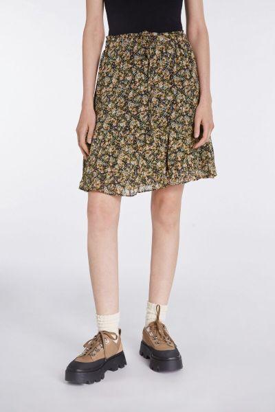 SET Flowerprint Skirt - Black/Green