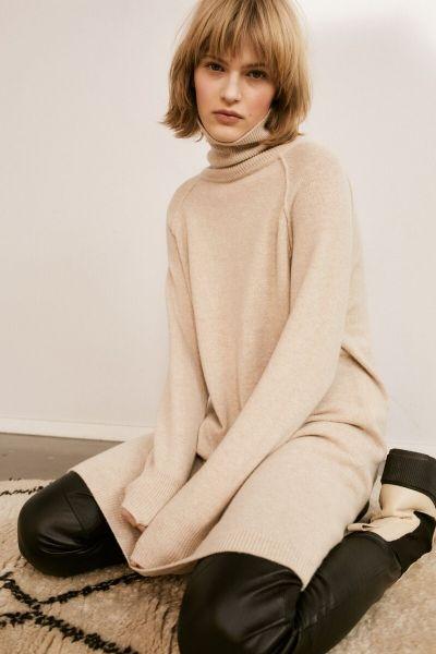 SET Turtleneck Wool Dress - Heather Beige